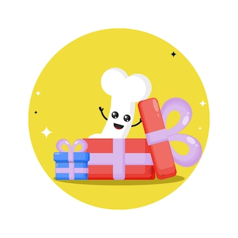 Logotipo de personagem fofa presente de osso
