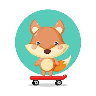 Logotipo de personagem fofa raposa skate