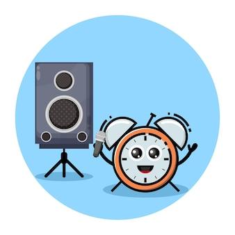 Logotipo de personagem fofinho de alarme de karaokê
