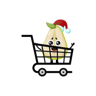 Logotipo de personagem fofinho de compras de natal de pêra