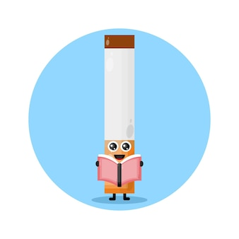 Logotipo de personagem fofinho de livro de cigarros