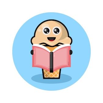 Logotipo de personagem fofinho de livro de leitura de sorvete