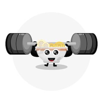 Logotipo de personagem fofinho de macarrão de fitness