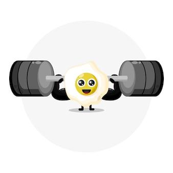 Logotipo de personagem fofinho de ovo de fitness