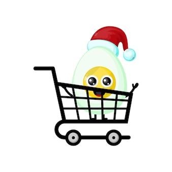Logotipo de personagem fofinho de ovo de natal comprando