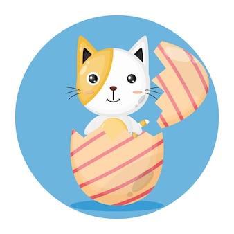 Logotipo de personagem fofinho de ovo de páscoa de gato