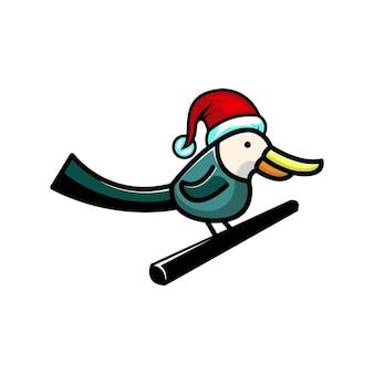 Logotipo de personagem fofinho de pássaro de natal