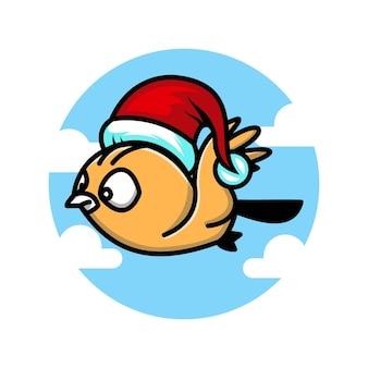 Logotipo de personagem fofinho de pássaro voador de natal
