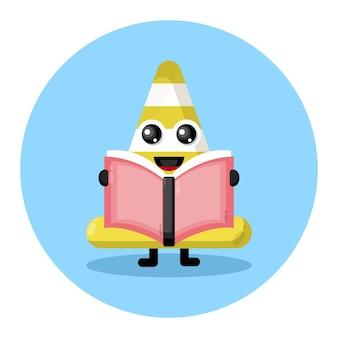 Logotipo de personagem fofinho do livro cone de trânsito