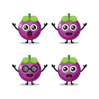 Logotipo de personagem fofinho do mangostão