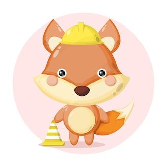 Logotipo de personagem fofinho do trabalhador da construção raposa