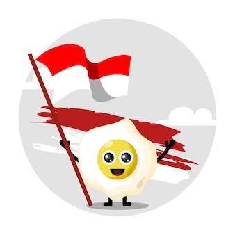 Logotipo de personagem fofo com bandeira da indonésia