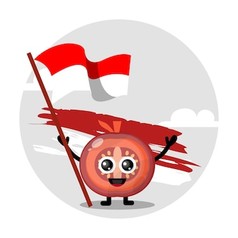 Logotipo de personagem fofo da bandeira do tomate