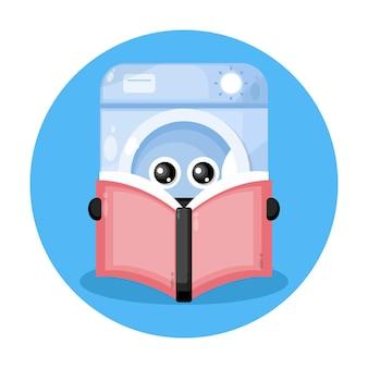 Logotipo de personagem fofo da máquina de lavar livro Vetor Premium