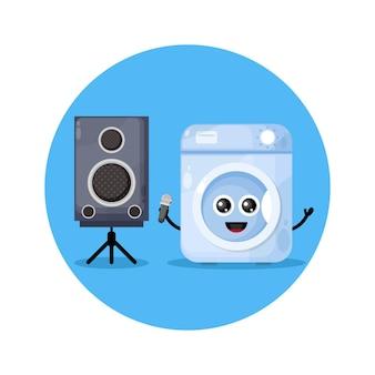 Logotipo de personagem fofo de máquina de lavar roupa karaokê