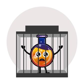 Logotipo de personagem fofo de poção de garrafa de prisão