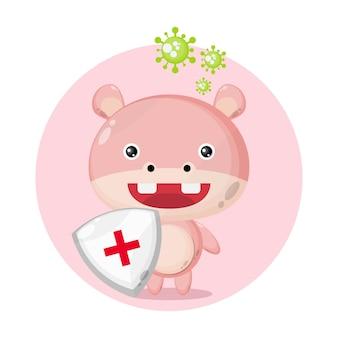 Logotipo de personagem fofo de porco proteção contra vírus