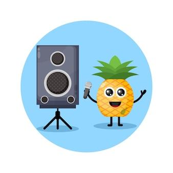 Logotipo de personagem fofo do karaokê de abacaxi
