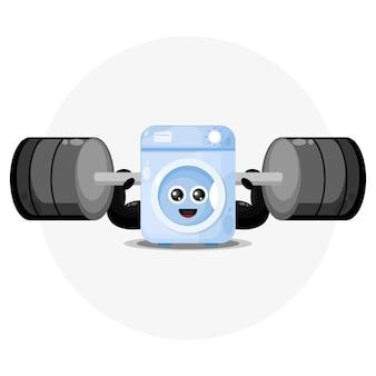 Logotipo de personagem fofo máquina de lavar roupa fitness