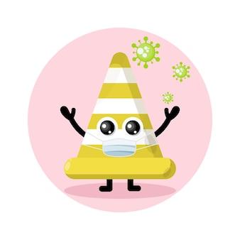 Logotipo de personagem fofo máscara de vírus de cone de tráfego