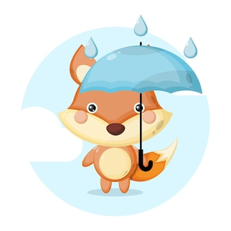 Logotipo de personagem fofo raposa guarda-chuva