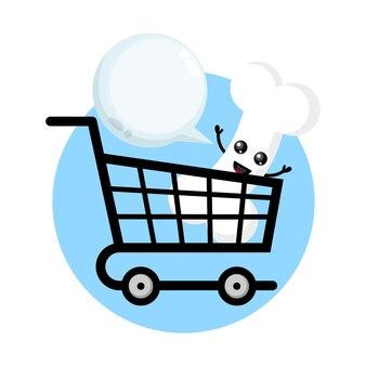 Logotipo de personagem fofo shopping