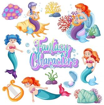 Logotipo de personagens de fantasia com sereias em fundo branco