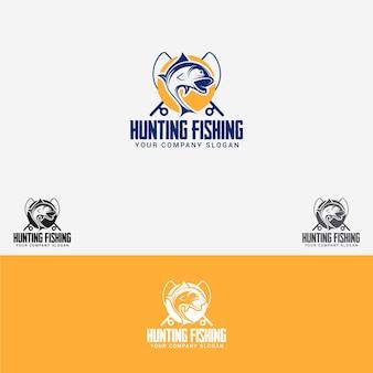 Logotipo de pesca de caça