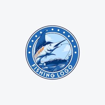 Logotipo de pesca de peixe de espadas