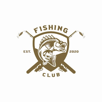 Logotipo de pesca vintage