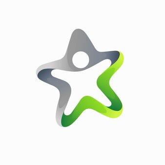 Logotipo de pessoas com conceito estrela