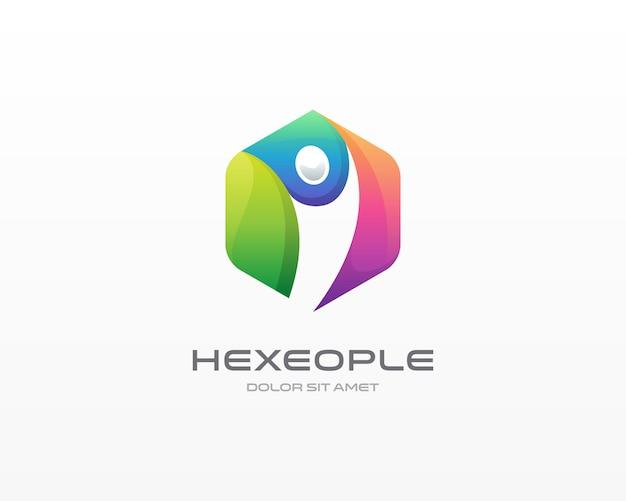 Logotipo de pessoas do hexágono