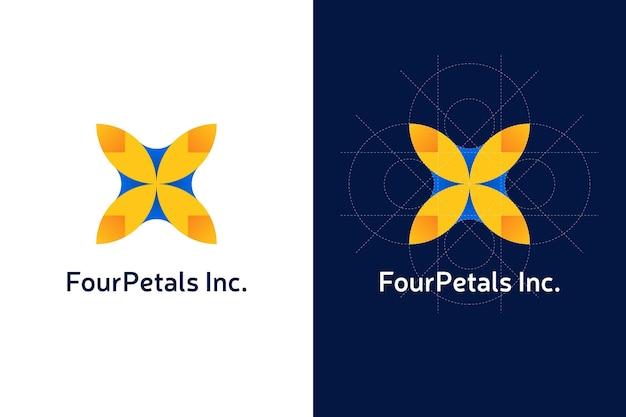 Logotipo de pétalas abstratas de gradiente