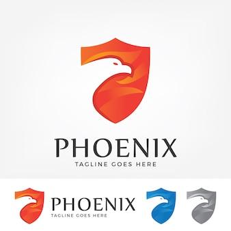 Logotipo de phoenix com forma de escudo.