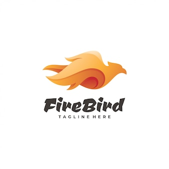 Logotipo de phoenix da asa de pássaro de fogo gradiente