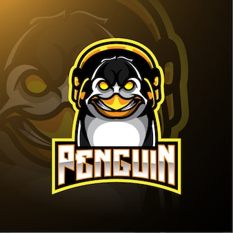 Logotipo de pinguim com fones de ouvido