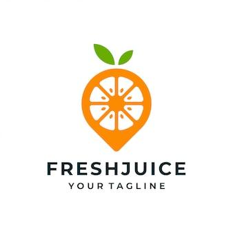 Logotipo de pino de fruta laranja e ícone.
