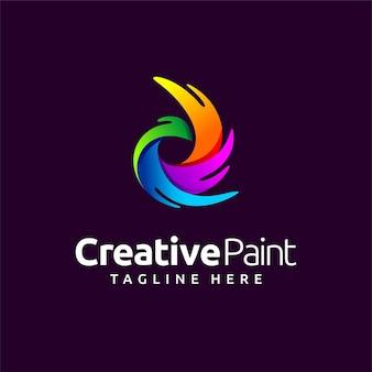 Logotipo de pintura criativa com conceito da letra d