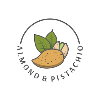 Logotipo de pistache de amêndoa