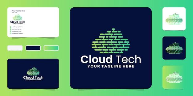 Logotipo de pixel de nuvem, tecnologia de nuvem e inspiração de cartão de visita