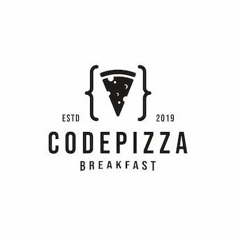 Logotipo de pizza de código vintage