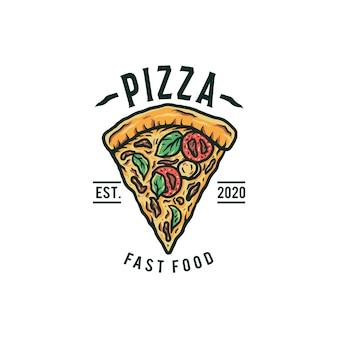 Logotipo de pizza, mão desenhada linha com cor digital