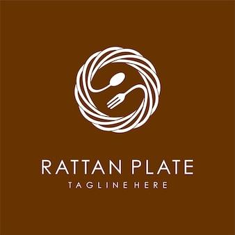 Logotipo de placas de rattan com conceito de colher e garfo