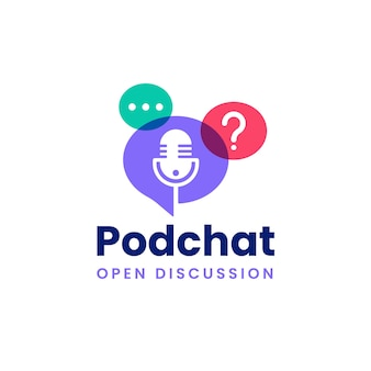 Logotipo de podcast de bate-papo em bolha moderna com cores sobrepostas