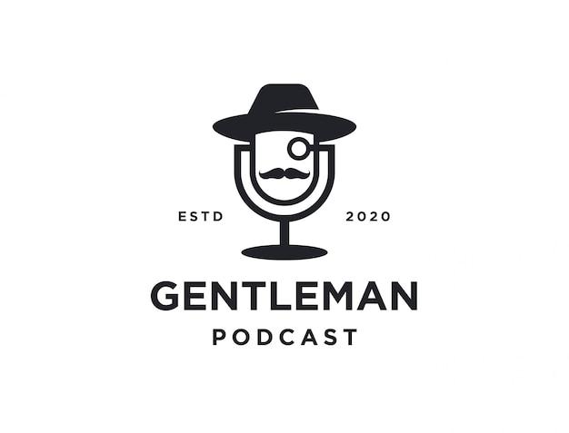Logotipo de podcast de homem minimalista