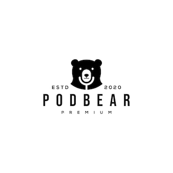 Logotipo de podcast de urso e microfone