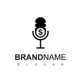 Logotipo de podcast empresarial com microfone e símbolo de dinheiro