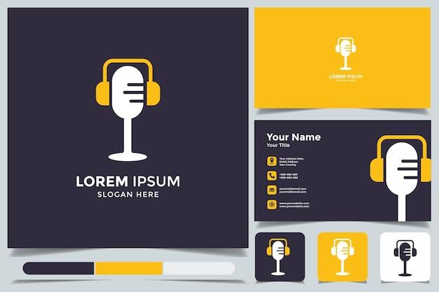 Logotipo de podcast simples abstrato com cartão de visita