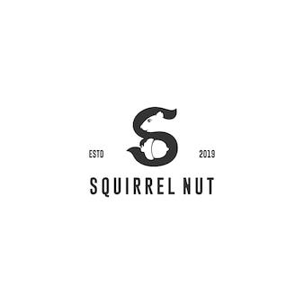 Logotipo de porca de esquilo letra s