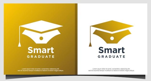 Logotipo de pós-graduação inteligente para educação